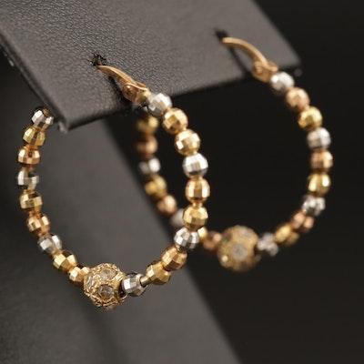 10K Tri-Gold Cubic Zirconia Beaded Hoop Earrings
