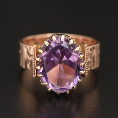 Victorian 10K Amethyst Ring with Foliate Design