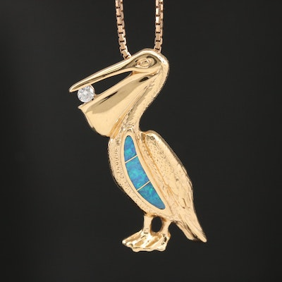 14K Gold Diamond and Opal Doublet Pelican Pendant Necklace