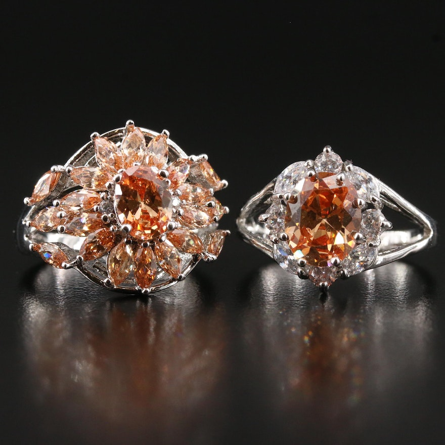 Cubic Zirconia Rings Featuring Sunburst and Spilt Shank Design
