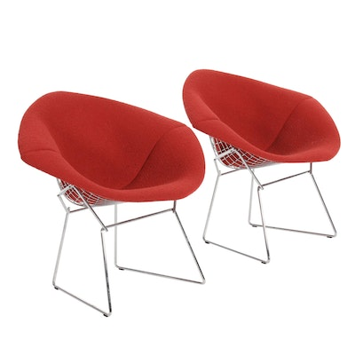 "Harry Bertoia for Knoll ""Diamond"" Upholstered Chrome Armchairs, 21st Century"