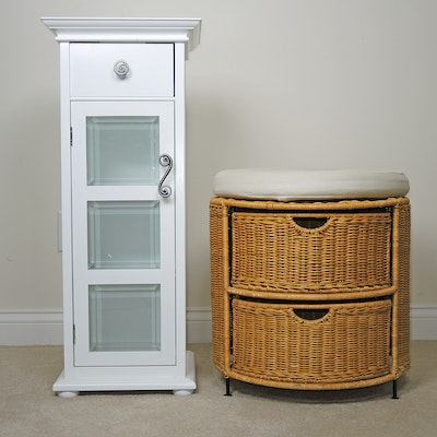 Wicker Seat with Storage and Painted Wood Bathroom Cabinet