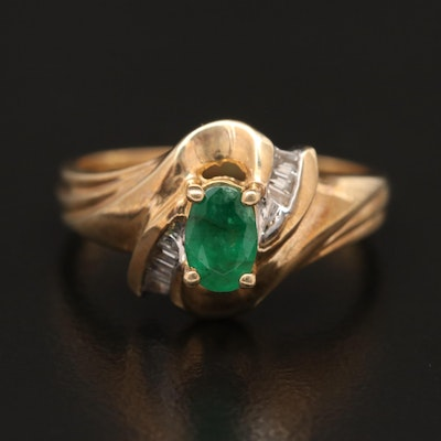 10K Emerald and Diamond Swirl Ring