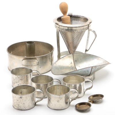 Swans Down Angel Food Cake Pan with Tin Cups, Cone Colander, and more