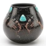 Delawepi Hopi Sgrafito Pot with Turquoise Cabachons, 1999