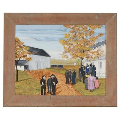 "Gladys Morris Folk Art Oil Painting ""Amish Church Meeting"", 1967"