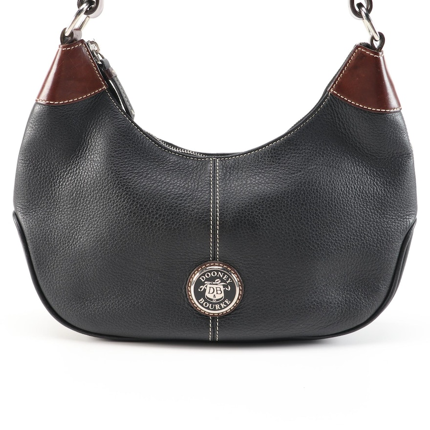Dooney & Bourke Black and Brown Contrast-Stitched Leather Hobo Bag