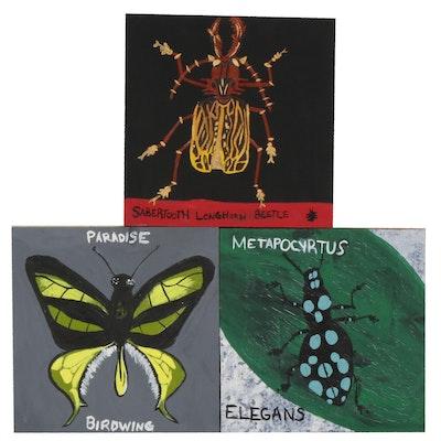 Abigail Draper Outsider Art Entomological Acrylic Paintings