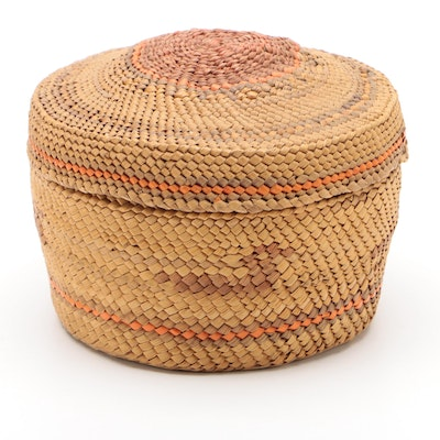 Finely Woven Nootka or Makah Tribe Covered Basket, Early 20th Century