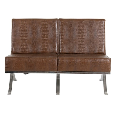 Barcelona Style Chrome Loveseat with Reptile Print Vinyl Upholstery