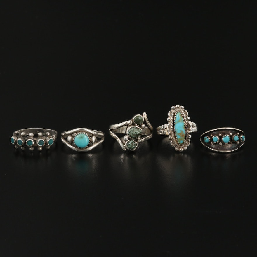Western Sterling Turquoise Ring Collection