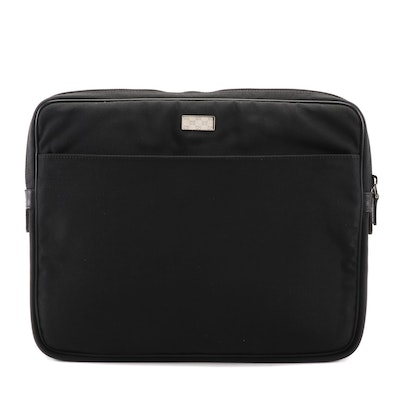 Gucci Laptop Case in Black Nylon Canvas with Leather Trim