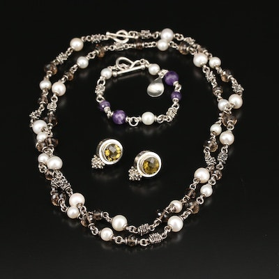 Michael Dawkins Sterling Jewelry Set with Smoky Quartz, Pearl and Amethyst
