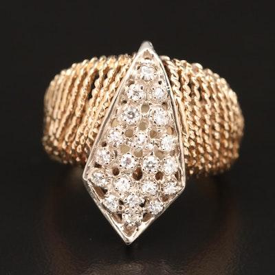 Vintage 14K Diamond Two-Tone Openwork Rope Ring