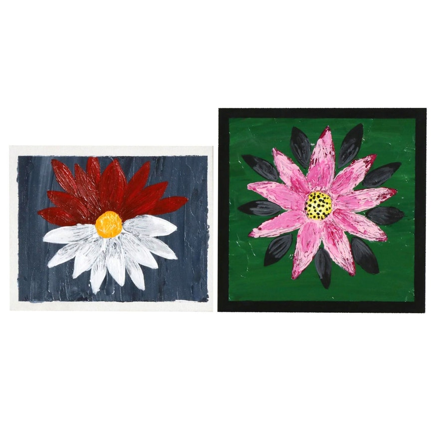Abigail Draper Outsider Art Acrylic Paintings of Flowers