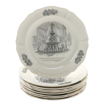 "Wedgwood Limited Edition ""Scenes of Cincinnati"" Transferware Dinner Plates"