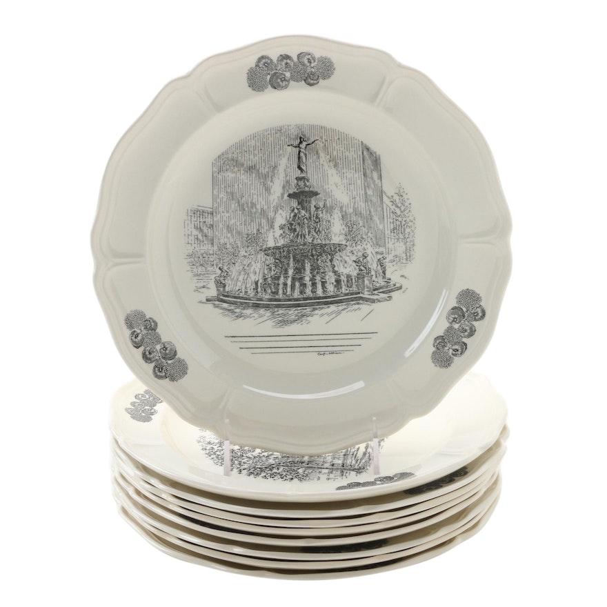 "Wedgwood Limited Edition ""Scenes of Cincinnati"" Transferware Dinner Plates"