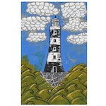 """Abigail Draper Outsider Art Acrylic Painting """"There's Always a Lighthouse..."""""""