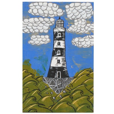 "Abigail Draper Outsider Art Acrylic Painting ""There's Always a Lighthouse..."""