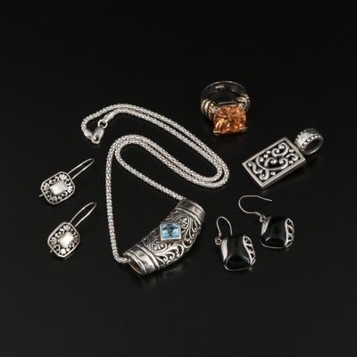 Sterling Silver Blue Topaz and Mother Of Pearl Jewelry Collection