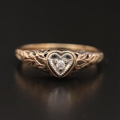 Circa 1930 10K Openwork Diamond Heart Ring