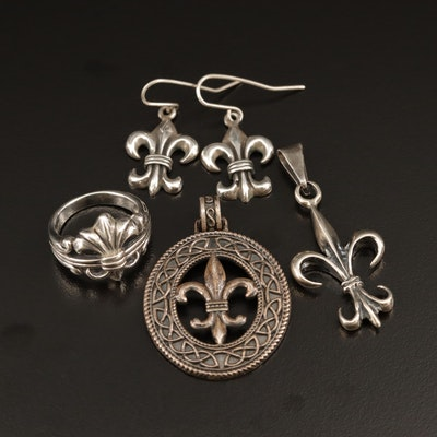 Sterling Fleur de Lis Ring, Pendant and Earrings