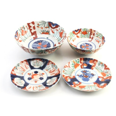 Asian Style Floral Motif Decorative Bowls and Plates