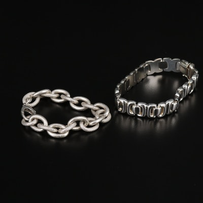 Sterling Silver Textured Cable Link and Fancy Link Bracelets