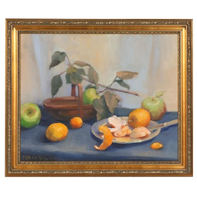 "Paula V. Bacinski Oil Painting ""Orange A-Peel"", Late 20th Century"