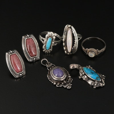 Sterling Jewelry Featuring Mother Of Pearl, Turquoise, Amethyst and Bell Trading