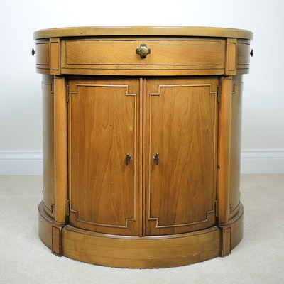Oak Drum Table, Mid-20th Century