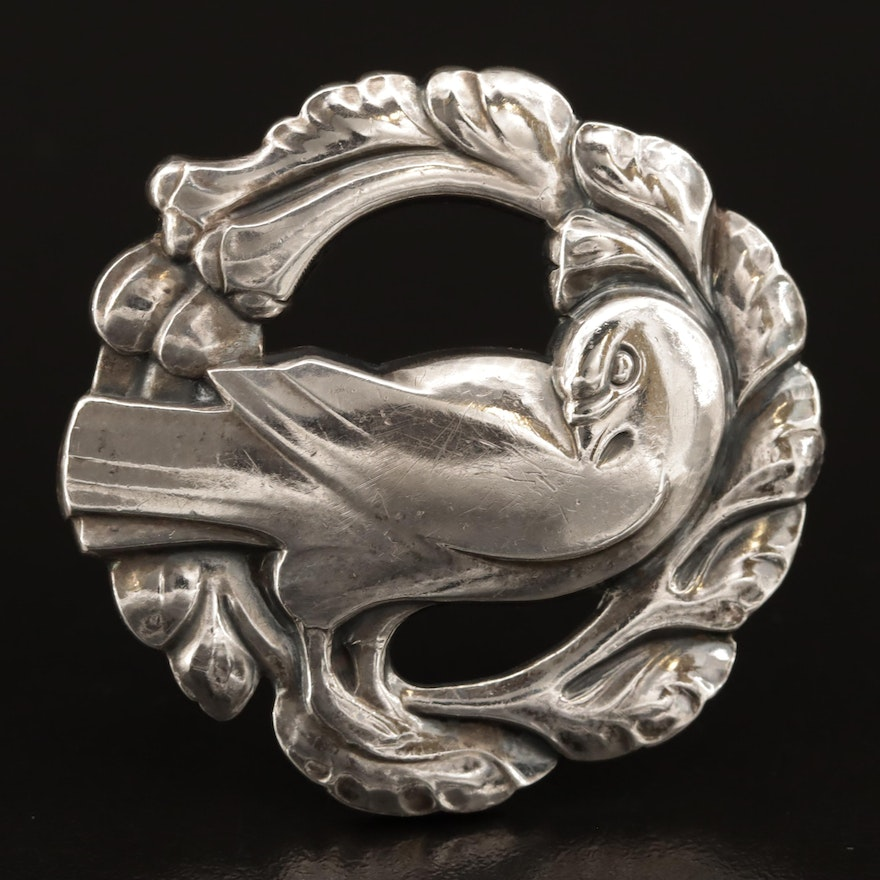 Georg Jensen Sterling Silver Dove and Wreath Brooch