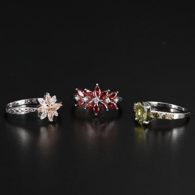 Assortment of Cubic Zirconia Rings Including Sterling