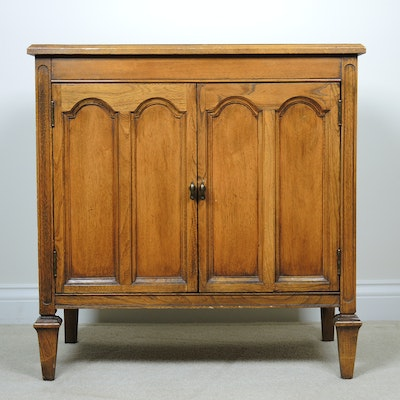 Oak and Mixed Woods Record Cabinet, Mid 20th Century