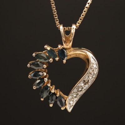 Sterling Silver Sapphire and Diamond Heart Necklace