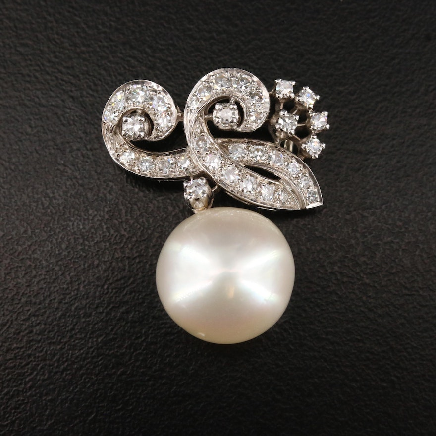 14K 1.09 CTW Diamond Scrolled Pendant with Pearl Drop