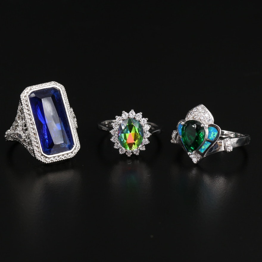 Assortment of Rings Including Sterling, Cubic Zirconia, Opal, and Glass