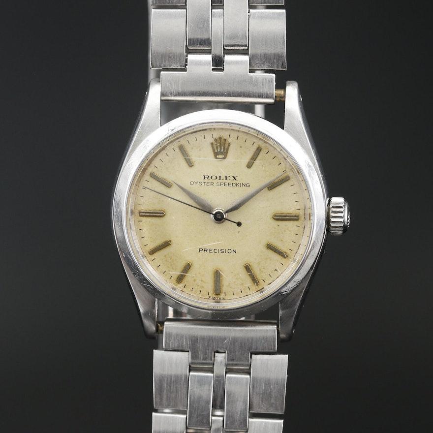 1958 Rolex Oyster Speedking Stainless Steel Stem Wind Wristwatch