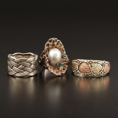 Sterling Pearl and Chalcedony Rings Including 12K Heart Accents
