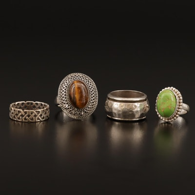 Sterling Ring Collection with Tiger's Eye and Turquoise Including Spinner Ring