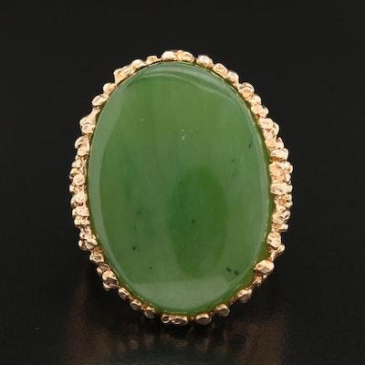 10K Oval Nephrite Ring