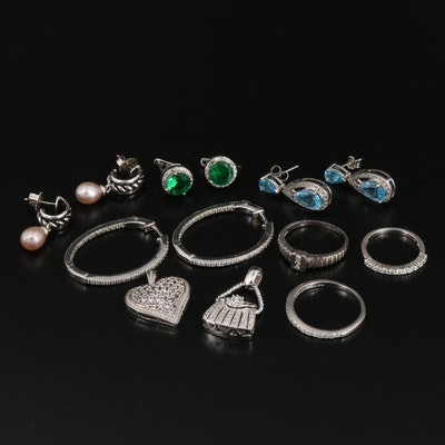 Sterling Silver Jewelry Selection Featuring Topaz, Pearl, and Cubic Zirconia