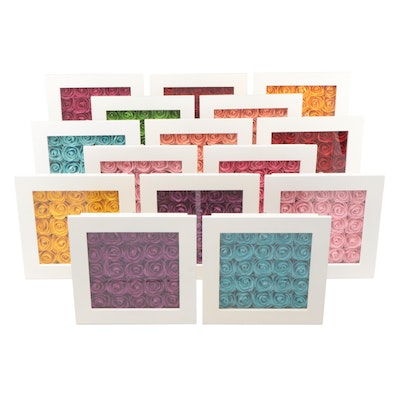Paper Flowers in Shadow Boxes Wall Décor