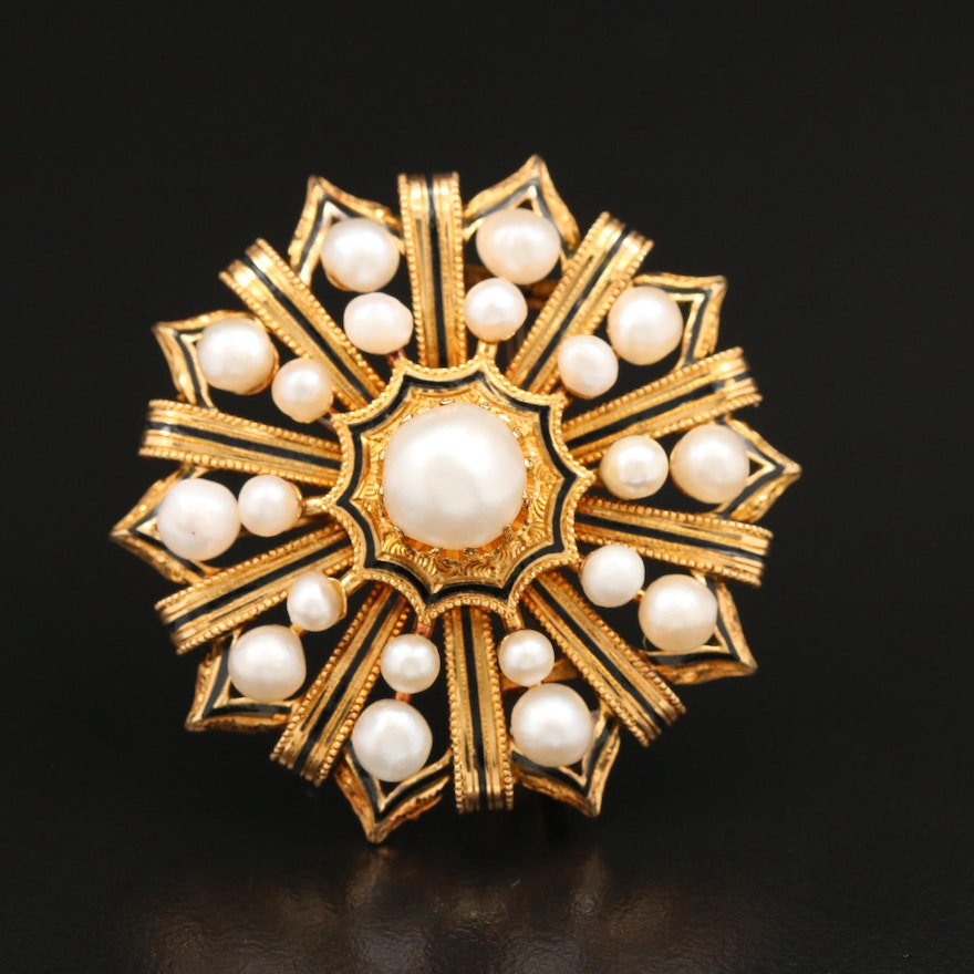 Victorian 18K Pearl and Taille d'Epargne Enamel Mourning Brooch Converter