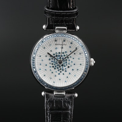 Affinity Stainless Steel Wristwatch with Scattered Diamond Design