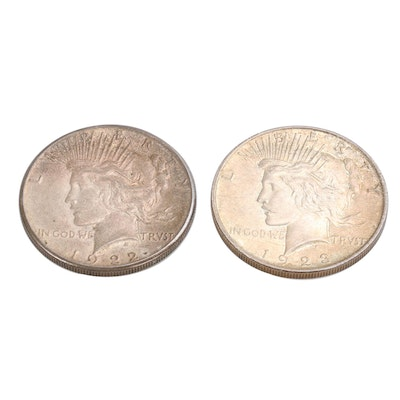 1922-S and 1923 Peace Silver Dollars