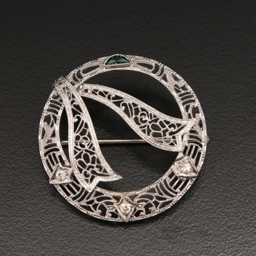 Art Deco 14K Diamond Filigree Brooch with Platinum Accents