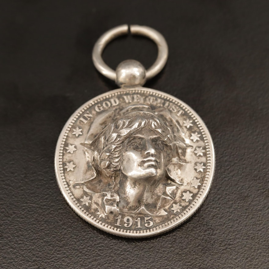 Sterling Pendant with 1915-S Barber Silver Half Dollar