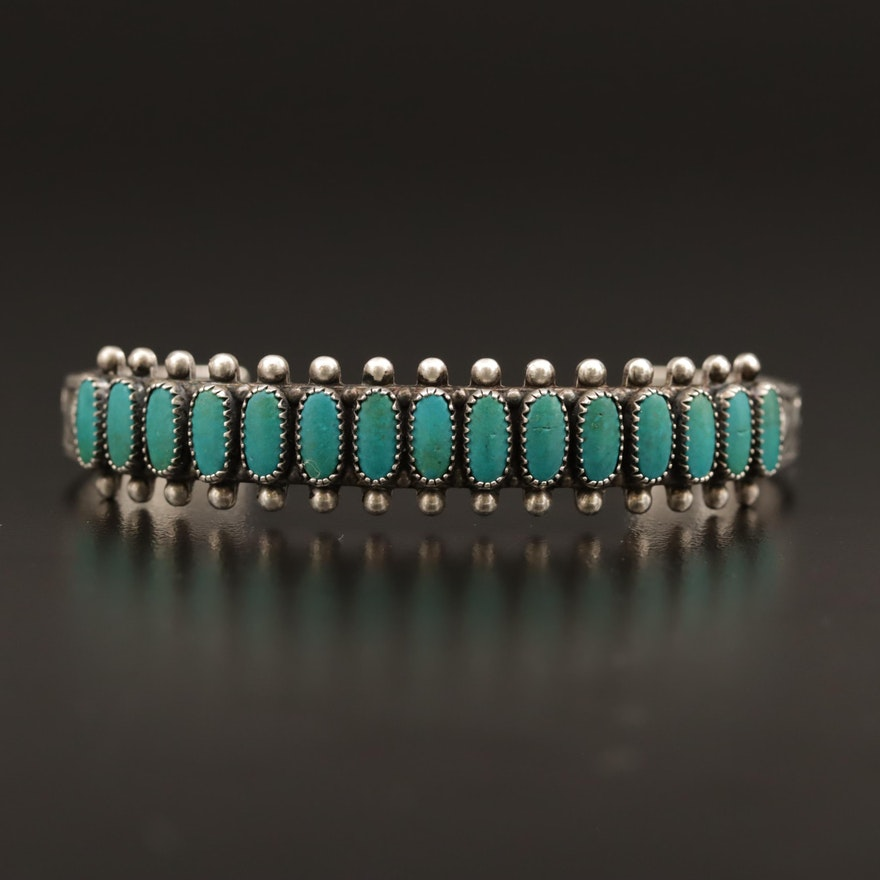 Western Sterling Turquoise Cuff