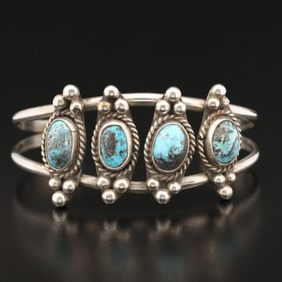 Southwestern Sterling Turquoise Cuff with Wirework and Applique